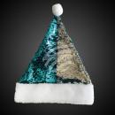Santa hat sequins turquoise silver Bommel