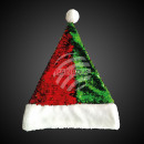 Santa hat sequins red green with pompom