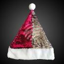 Santa hat sequins pink silver with pompom