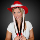WM-25 Christmas red cowboy hat with extra long bra