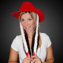 Kerst Cowboy Hoed rood met extra lange vlechten