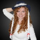 WM-26 Christmas-blue cowboy hat with long white br