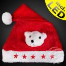 Santa hat red Motiv: polar bear 5 red stars