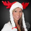 X-Mas Fun red m. Antler & white long braids