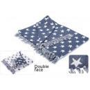 Großhandel Bettwäsche & Matratzen: Decke Baumwolle blaue Sterne