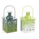 latarnie kupieckie Świecznik metalowy zielony