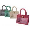 Großhandel Handtaschen: Transparente Jutetasche für Fenster