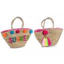 Strandtaschen Großhandel Stroh Pompon Dekor