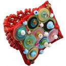 ingrosso Gioielli & Orologi: Ring  Pailette   Colore: rosso, taglia flessibilità