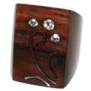 ingrosso Gioielli & Orologi: Anello  Fiore  in  legno e metallo Sono con zirconi