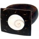 ingrosso Gioielli & Orologi: Anello in legno di  noce di cocco con i formati shi
