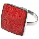 ingrosso Gioielli & Orologi: Anello in acciaio  inox, spugna di corallo, formato