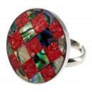 ingrosso Gioielli & Orologi: Anello in acciaio  inox, Paua  corallo, formato ...