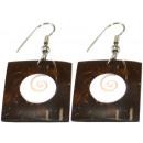 groothandel Sieraden & horloges: Paar oorbellen,  shivaeye kokosnoot hout, 25 x 25 m