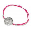 groothandel Sieraden & horloges: Armband  Flower of  Life , 925 zilver, fuchsia