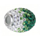 wholesale Beads & Charms: Charms Silver, L. 17 mm, Ø inside 5 mm green / wh