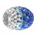 Großhandel Beads & Charms: Charms Silber, L. 17 mm, Ø innen 5 mm blau/weiß
