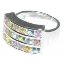 groothandel Sieraden & horloges: Ring in zilver met kleurrijke steentjes