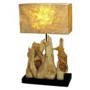 Lamp op teak, hoogte 57 cm