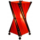 Lamp, wood with fabric, height. 30 cm, red