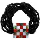 Perla braccialetto, paua, corallo, resina