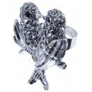 grossiste Anneaux et bagues: Ring Vogelpaar , 30 x 40 mm, la taille souple