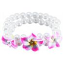 groothandel Sieraden & horloges: Parel armband 3  frangipanibloemen, roze