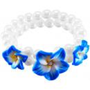 groothandel Sieraden & horloges: Parel armband 3  frangipanibloemen, blauw