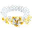 groothandel Sieraden & horloges: Parel armband 3  frangipanibloemen, geel