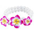 groothandel Sieraden & horloges: Parel armband 3  frangipanibloemen, paars