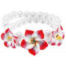 groothandel Sieraden & horloges: Parel armband 3  frangipanibloemen, rood / geel