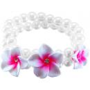 groothandel Sieraden & horloges: Parel armband 3  frangipani bloemen, wit / roze