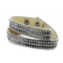 grossiste Bijoux & Montres:Bracelet, cuir, gris