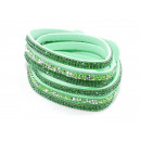 wholesale Artificial Flowers: Wickelarmband with diamante, green