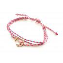 Großhandel Anhänger: Armband Anker , pink/blau