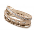 wholesale Artificial Flowers: Wrap bracelet anchor with glitter, light brown