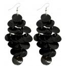 Pair of earrings, mother of pearl, L. 90 mm, black