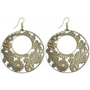 wholesale Earrings: Pair of earrings, leaves u. Blütenmotiv, round,