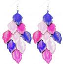 wholesale Rings: Earrings, spring design , metal, L. 90 mm, purple
