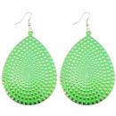 Earrings, Pair, 70 x 50 mm, green