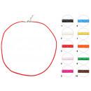 Großhandel Schmuck & Uhren: Halsband Satin Ø 2 mm, 50 cm, red