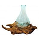 Liqva - teak met glas, hoogte 35 cm