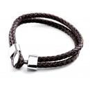 groothandel Sieraden & horloges: Armband, roestvrij staal en leer, bruin