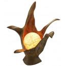 Lamp, teak met de bal, hoogte 50 cm
