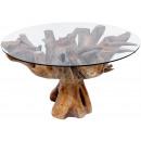 Stół z szklanym blatem, wysokość 45 cm, Ø 80 cm