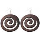 wholesale Decoration: Earring pair of wooden, spiral, Ø 50 mm