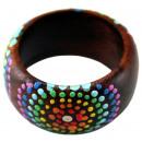 Großhandel Ringe: Ring aus Sonoholz mit Punkten, Größen sortiert