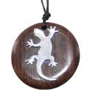Anhänger mit Halskette, Holz, Edelstahl Gecko Ø