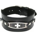 Armband aus Leder u. Edelstahl Kreuz matt