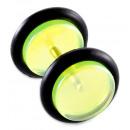 Fake Plugs, Ohrstecker, Ø 10 mm, transparent grün
